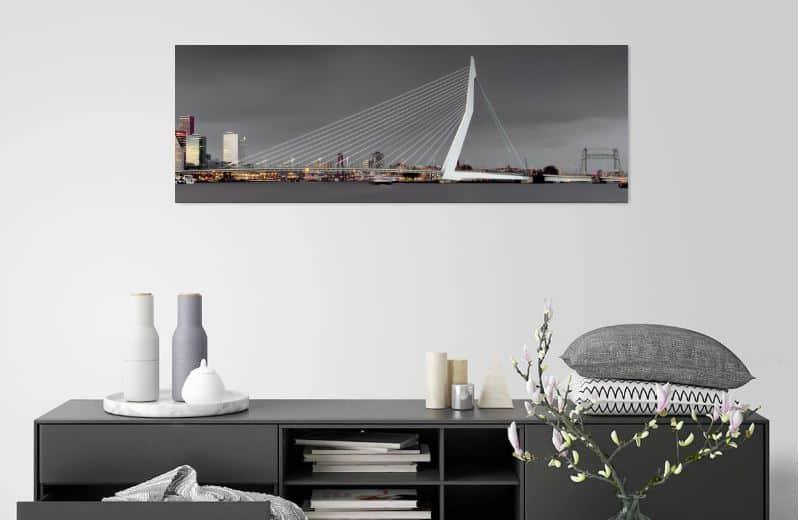 Skyline van Rotterdam tijdens een flinke onweersbui - werk aan de muur - MvH Fotografie - Fotograaf in Hellevoetsluis