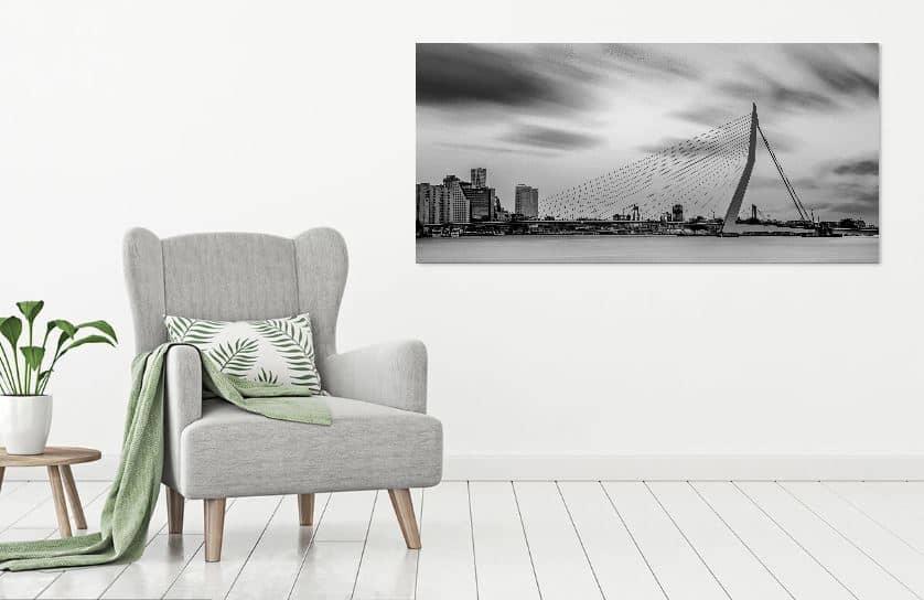 Skyline Rotterdam in zwart-wit- werk aan de muur - MvH Fotografie - Fotograaf in Hellevoetsluis