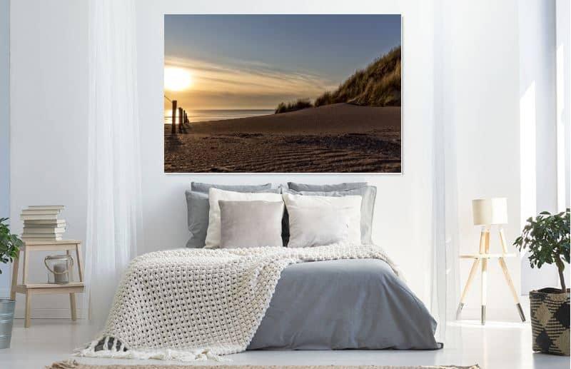 Zonsondergang op het strand met 3 paarden- werk aan de muur - MvH Fotografie - Fotograaf in Hellevoetsluis